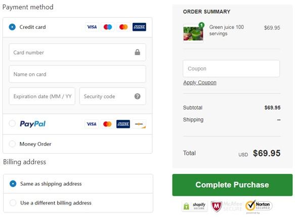 checkout process payment