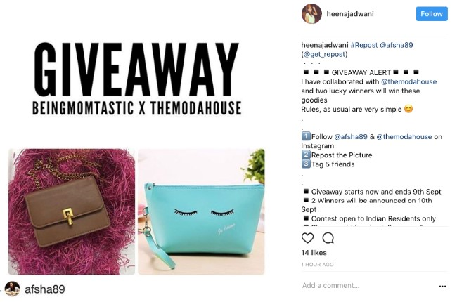 giveaway campaign follow